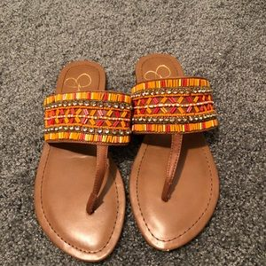 Jessica simpson orange beaded sandals